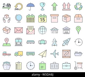 Transport and logistics simple thin icon set, filling with pastel colors,  isolated on white background - Stock Photo