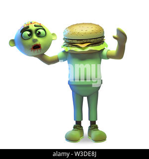 Silly Halloween zombie monster has had his replaced with a cheese burger, 3d illustration render - Stock Photo