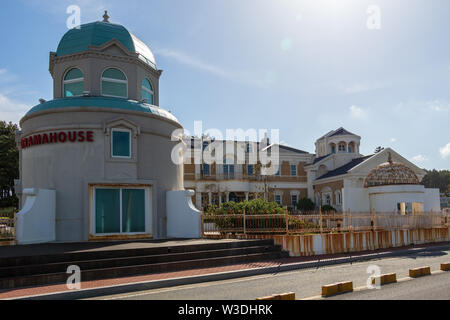 Panorama view on Dramahouse with buildings near Cape Ganjeolgot. Easternmost Point of Peninsula in Ulsan, South Korea, Asia - Stock Photo