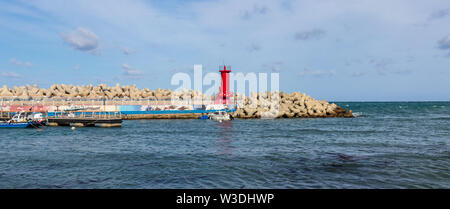 Harbour Bay with Lighthouse of Cape Ganjeolgot and Breakwater. Easternmost Point of Peninsula in Ulsan, South Korea. Asia - Stock Photo