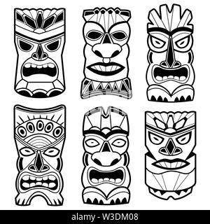 Illustration set of cartoon carved Hawaiian tiki god statue black and white masks. - Stock Photo