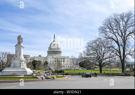 United States Capitol and Capitol Hill viewed from the National Mall. The Capitol building is the home of US Congress.