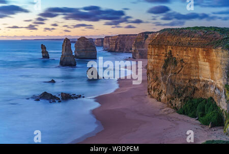 twelve apostles marine national park at sunset,great ocean road at port campbell, victoria, australia - Stock Photo