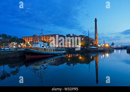 Royal Albert Dock complex Liverpool UK at dusk. - Stock Photo