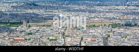 Aerial panoramic scenic view of Paris with the Louvre museum, France and Europe city travel panorama - Stock Photo