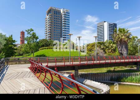 Diagonal Mar park,designed by Enric Miralles and Benedetta Tagliabue. Barcelona, Catalonia, Spain. - Stock Photo