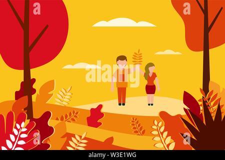 Autumn landscape Vector illustration in flat style - Stock Photo