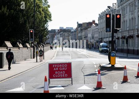 Cardiff, Wales, UK, July 15th 2019. A road closed sign as Extinction Rebellion activism closes roads around the city centre. Extinction Rebellion describes itself as an international rebellion against the criminal inaction on the climate and ecological crisis. Credit: Mark Hawkins/Alamy Live News - Stock Photo