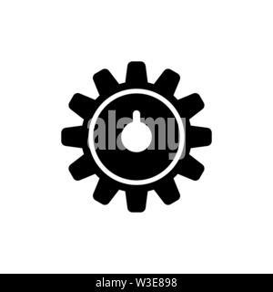 Clock Gear Wheels, Wheel Train. Flat Vector Icon illustration. Simple black symbol on white background. Clock Gear Wheels, Wheel Train sign design tem - Stock Photo