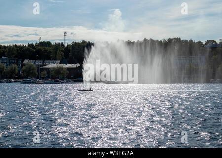 fountain in Lappeenranta harbour, Finland - Stock Photo