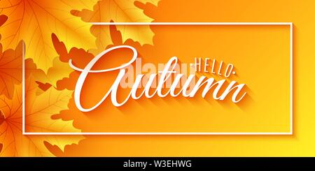 Autumn web banner with maple leaves. Seasonal background for your design. Beautiful text in frame. Vector illustration. EPS 10 - Stock Photo