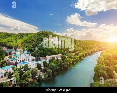 Svaytogorsk lavra ancient monastery hills panoramic view with green forest and Donets river at Donbass, Ukraine on bright sunny day. Ukraine travel de - Stock Photo