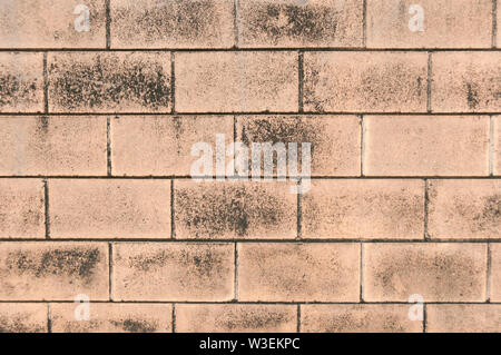 Textured, aged, red brick wall close up pattern for background - Stock Photo