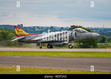 A Spanish Navy  EAV-8B Harrier II Plus fighter aircraft taking part in the flying display for the Air Day at RNAS Yeovilton, UK on 13/7/19. - Stock Photo