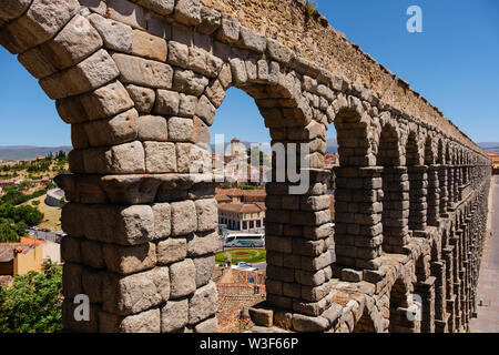 Ancient roman aqueduct, UNESCO World Heritage Site. Segovia city. Castilla León, Spain Europe