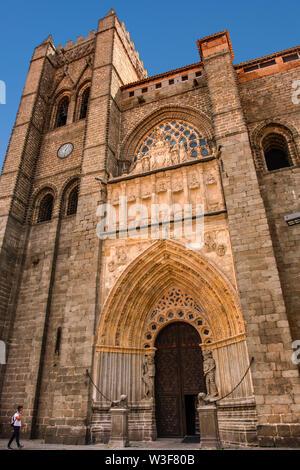Romanesque gothic architecture, cathedral Cristo Salvador. UNESCO World Heritage Site. Avila city. Castilla León, Spain Europe - Stock Photo