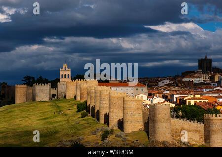 Medieval monumental walls, UNESCO World Heritage Site. Avila city. Castilla León, Spain Europe