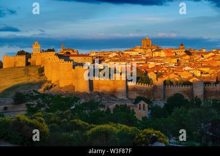 Medieval monumental walls at sunset, UNESCO World Heritage Site. Avila city. Castilla León, Spain Europe