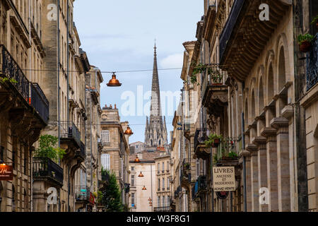 Historical center street and La Flèche, Bell tower. Bordeaux, Gironde. Aquitaine region. France Europe