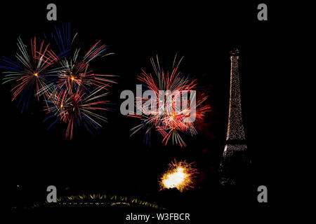 2019 Bastille Day Fireworks in Paris - Stock Photo