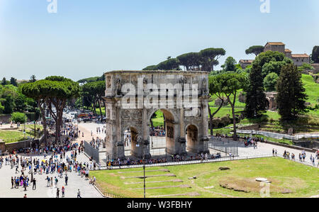 Triumphal Arch of Constantine near Colosseum - Rome, Italy - Stock Photo