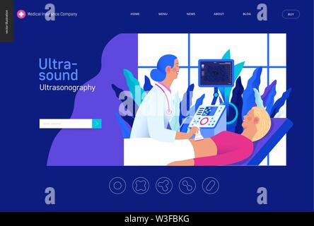 Medical tests Blue template -ultrasound - modern flat vector concept digital illustration of ultrasonography procedure -doctor examing patient pregnan - Stock Photo