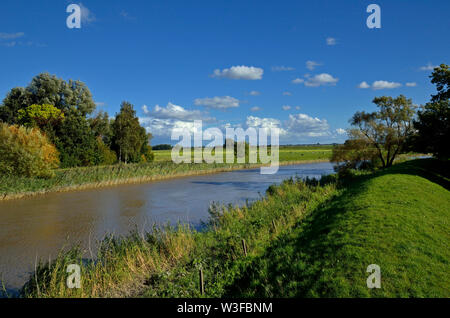 amdorf, niedersachsen/germany - september 22, 2012: leda river near amdorf and countryside - Stock Photo