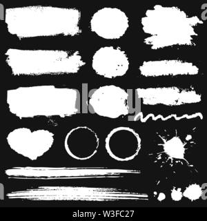 Grunge stains, paint brush strokes and ink blots isolated on black background. White vector design elements for paintbrush texture, frame, background, - Stock Photo