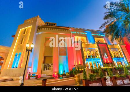 Doha, Qatar - February 18, 2019: lifestyle Arab restaurant Yasmine Palace on corniche marina in Porto Arabia at the Pearl-Qatar, artificial island in - Stock Photo