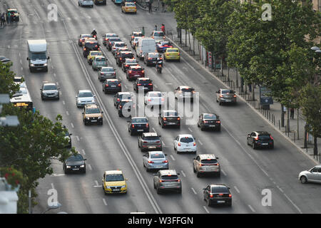 Bucharest, Romania - July, 02: Traffic on Magheru Boulevard in Bucharest, Romania. - Stock Photo