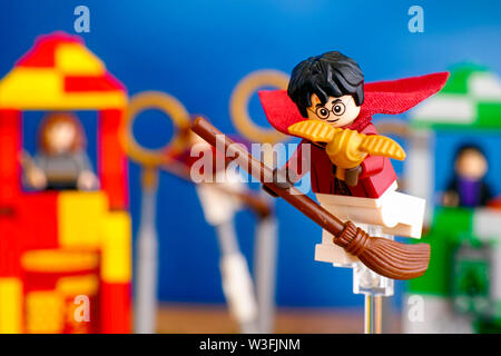 Tambov, Russian Federation - January 20, 2019 Lego Harry Potter on broom captured Golden Snitch and win the Quidditch Match. - Stock Photo