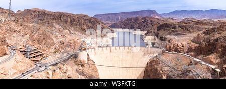 Hoover dam in Arizona and Nevada, USA Panorama - Stock Photo