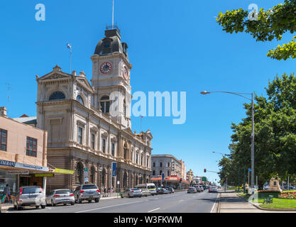 Town Hall and other historic buildings on Sturt Street, the main street in the old gold mining town of Ballarat, Victoria, Australia - Stock Photo