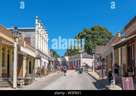 Main Street in Sovereign Hill, an open air museum in the old gold mining town of Ballarat, Victoria, Australia - Stock Photo