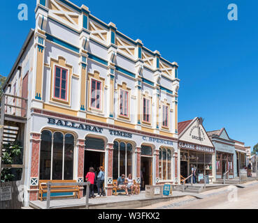 Historic buildings on Main Street in Sovereign Hill, an open air museum in the old gold mining town of Ballarat, Victoria, Australia - Stock Photo