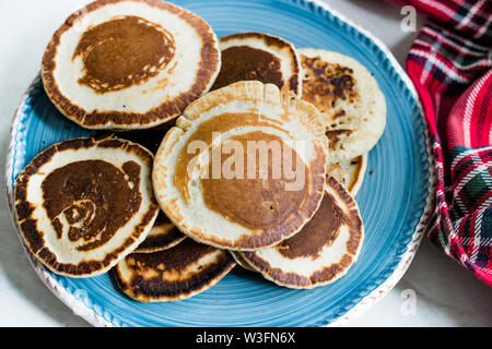 Stack of Plain Pancakes in Plate for Breakfast. - Stock Photo