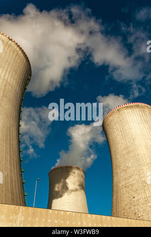 Smoke coming out of chimneys of Dukovany nuclear power plant
