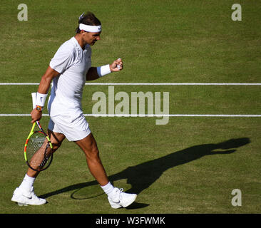Rafael Nadal celebrates winning a point on Centre Court during the Wimbledon Mens Semi-Finals Match against Roger Federer Picture by Nigel Bramley - Stock Photo