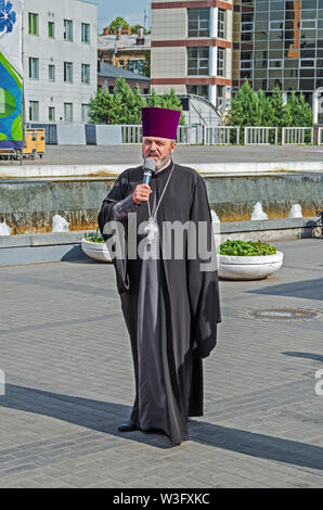 Dnipro, Ukraine - September 29, 2018: Ukrainian priest in celebration at festivalin honor of 100th anniversary of Dnipro Academic Music and Drama Thea - Stock Photo