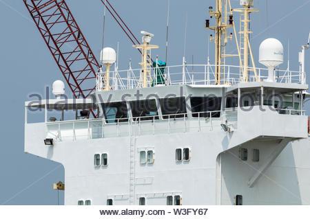 New Bedford, Massachusetts, USA - July 11, 2019: Bridge on cargo vessel Annemieke docked in New Bedford - Stock Photo