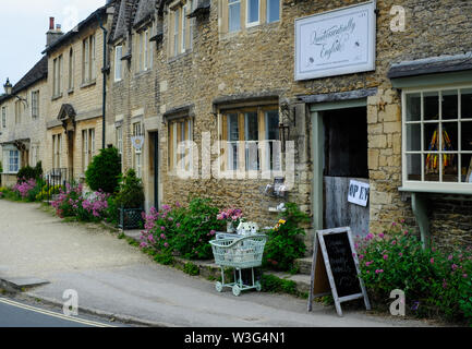 Row of cottages in the village of Lacock, Wiltshire, UK - Stock Photo
