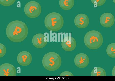 Currencies signs on green background. Vector Seamless pattern with round icons of popular money symbols. - Stock Photo