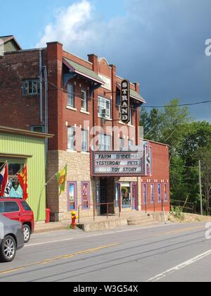 The Strand movie theatre, Old Forge, New York. A traditional movie theatre in a small town in the Adirondack State Park in New York State. - Stock Photo