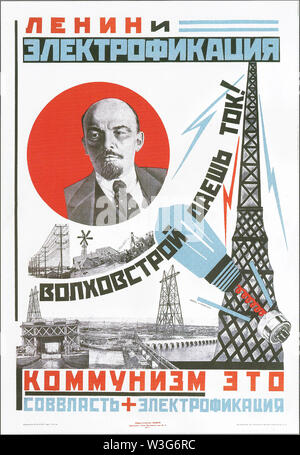 Lenin and electrification. Communism is Soviet power and electrification. Soviet poster. 1925. - Stock Photo