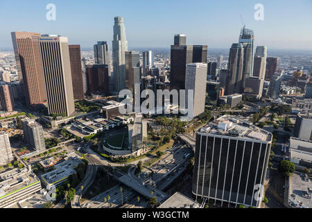 Los Angeles, California, USA - August 6, 2016:  Afternoon aerial of buildings and streets in downtown Los Angeles.
