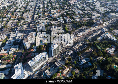 Aerial view of Sunset Blvd area streets and buildings in the West Hollywood area of Los Angeles County, California. - Stock Photo