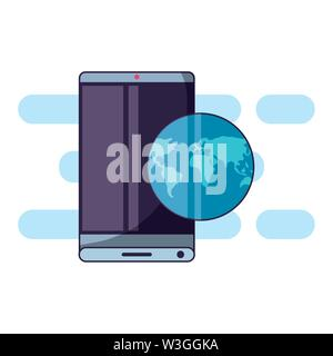 smartphone with world planet travel app vector illustration design - Stock Photo