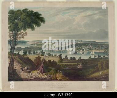 City of Washington from beyond the Navy Yard - painted by G. Cooke ; engd. by W.J. Bennett. - Stock Photo