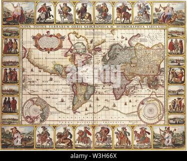 Claes Janszoon Visscher - Nova Totius Terrarum Orbis Geographica Ac Hydrographica Tabula Autore'. - Stock Photo