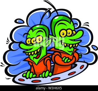 Funny aliens in a spaceship. Vector illustration in a flat style. Image is isolated on white background. Characters for printing, web and games. - Stock Photo